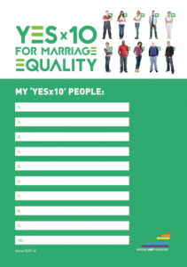 My YES x 10 List for Marriage Equality